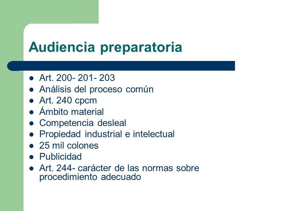 Audiencia preparatoria Art. 200- 201- 203 Análisis del proceso común Art. 240 cpcm Ámbito material Competencia desleal Propiedad industrial e intelect