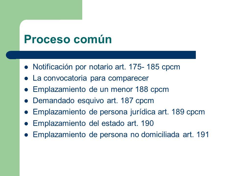 Proceso común Notificación por notario art. 175- 185 cpcm La convocatoria para comparecer Emplazamiento de un menor 188 cpcm Demandado esquivo art. 18