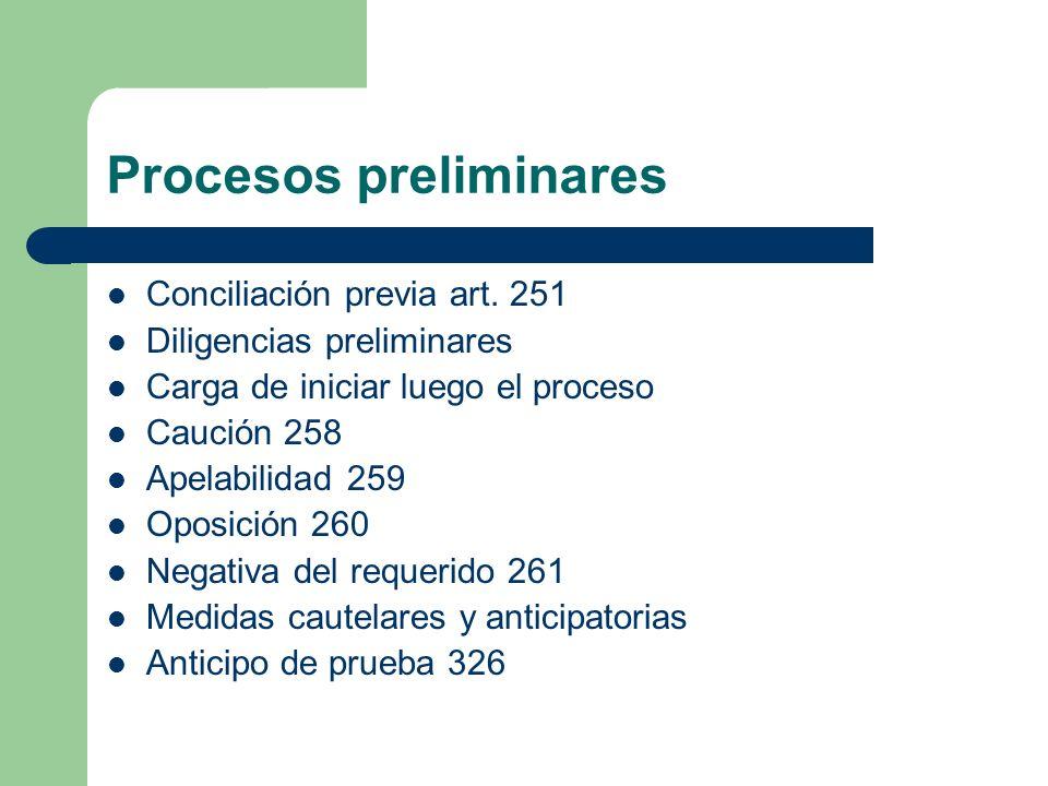 Procesos preliminares Conciliación previa art. 251 Diligencias preliminares Carga de iniciar luego el proceso Caución 258 Apelabilidad 259 Oposición 2