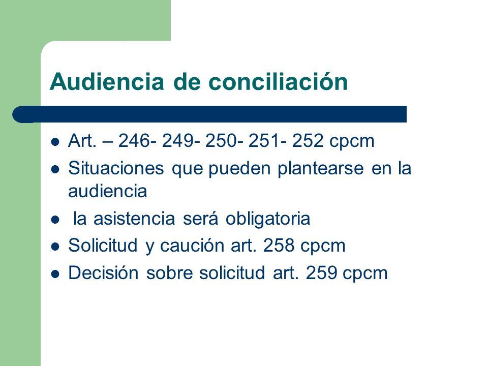 Audiencia de conciliación Art. – 246- 249- 250- 251- 252 cpcm Situaciones que pueden plantearse en la audiencia la asistencia será obligatoria Solicit
