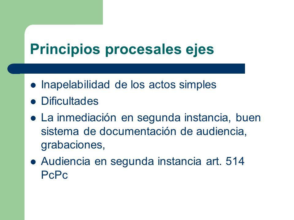 Principios procesales ejes Inapelabilidad de los actos simples Dificultades La inmediación en segunda instancia, buen sistema de documentación de audi
