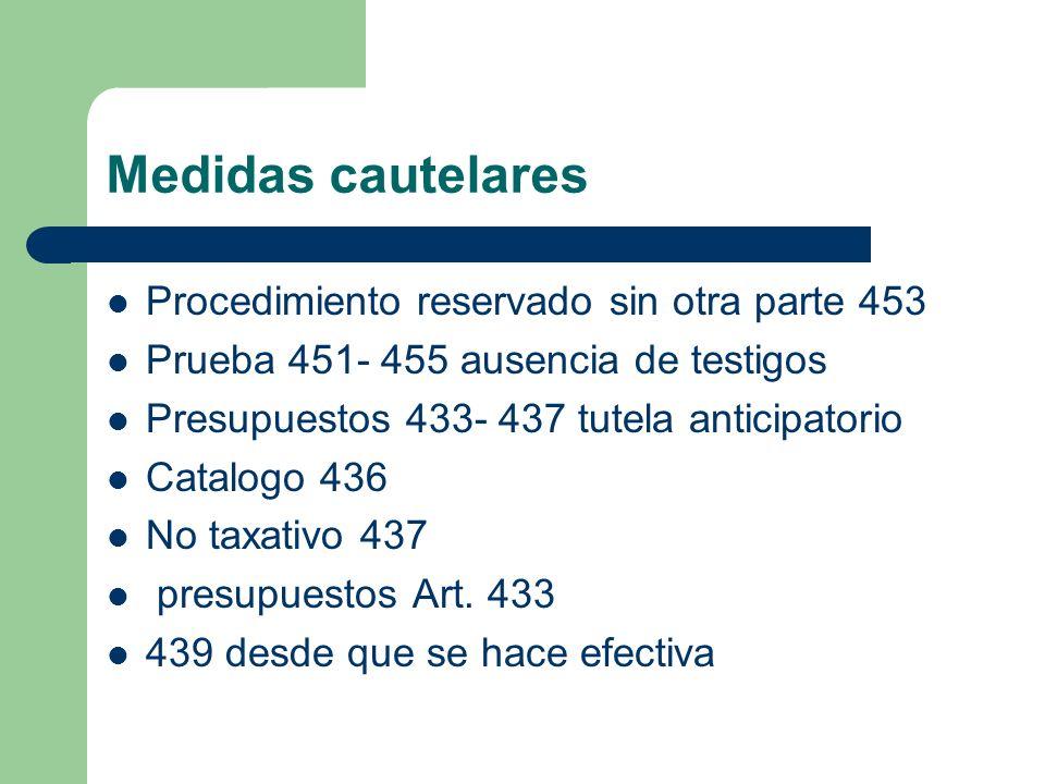 Medidas cautelares Procedimiento reservado sin otra parte 453 Prueba 451- 455 ausencia de testigos Presupuestos 433- 437 tutela anticipatorio Catalogo
