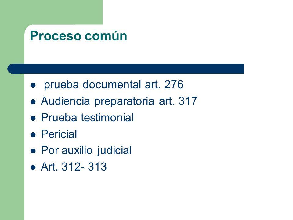 Proceso común prueba documental art. 276 Audiencia preparatoria art. 317 Prueba testimonial Pericial Por auxilio judicial Art. 312- 313