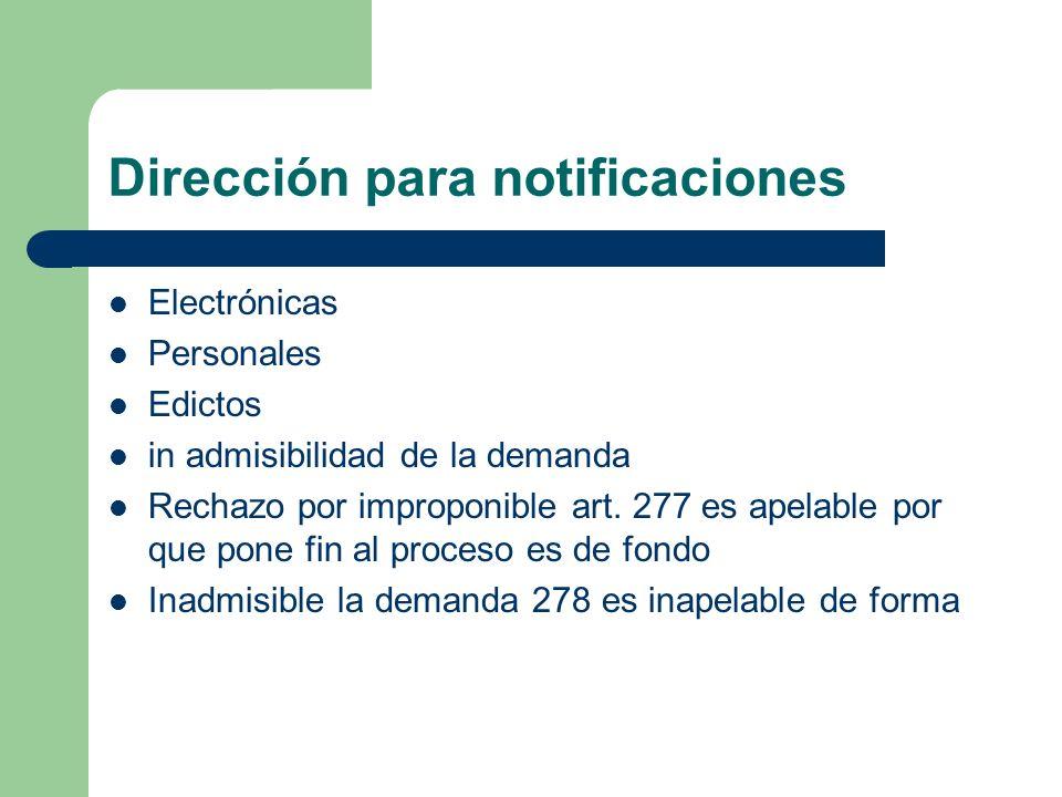 Dirección para notificaciones Electrónicas Personales Edictos in admisibilidad de la demanda Rechazo por improponible art. 277 es apelable por que pon