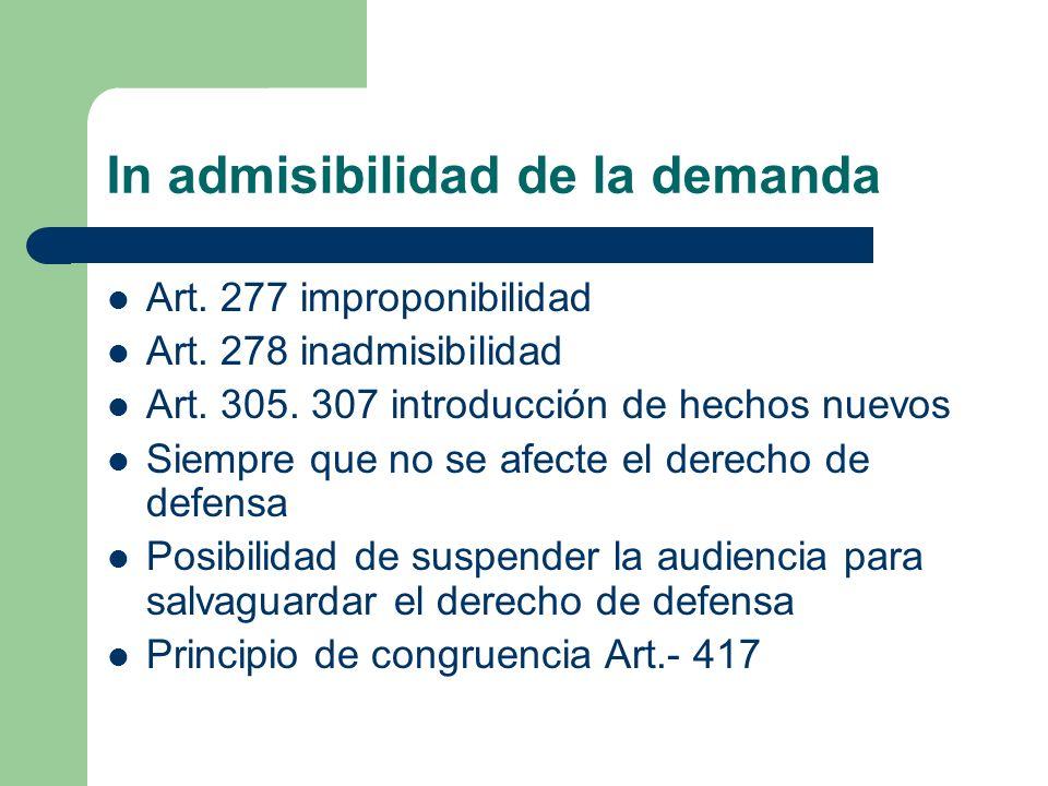 In admisibilidad de la demanda Art. 277 improponibilidad Art. 278 inadmisibilidad Art. 305. 307 introducción de hechos nuevos Siempre que no se afecte