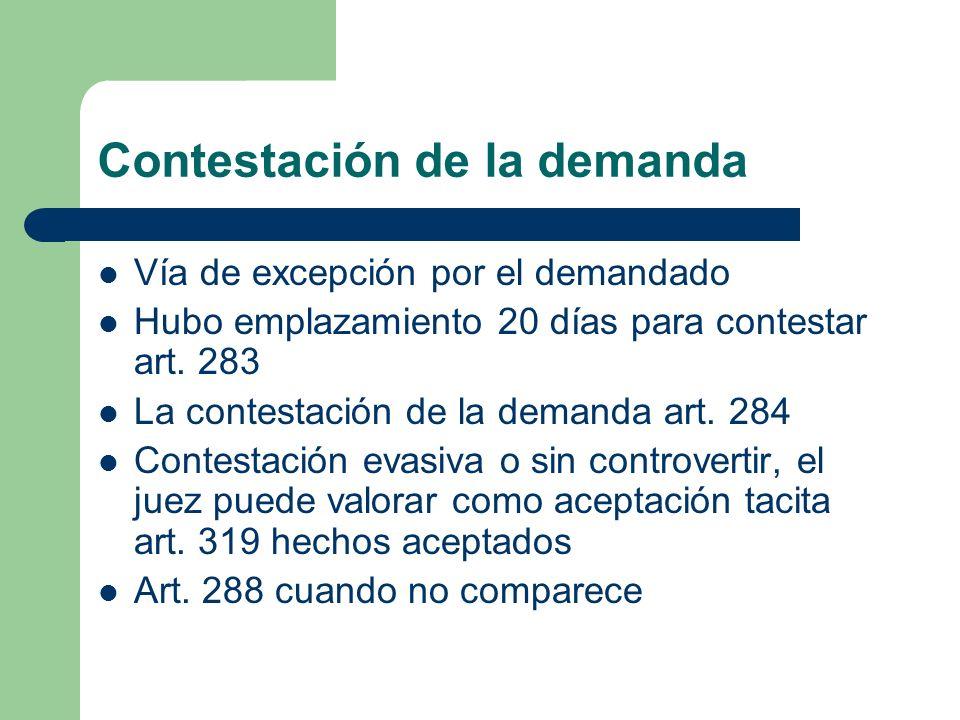 Contestación de la demanda Vía de excepción por el demandado Hubo emplazamiento 20 días para contestar art. 283 La contestación de la demanda art. 284