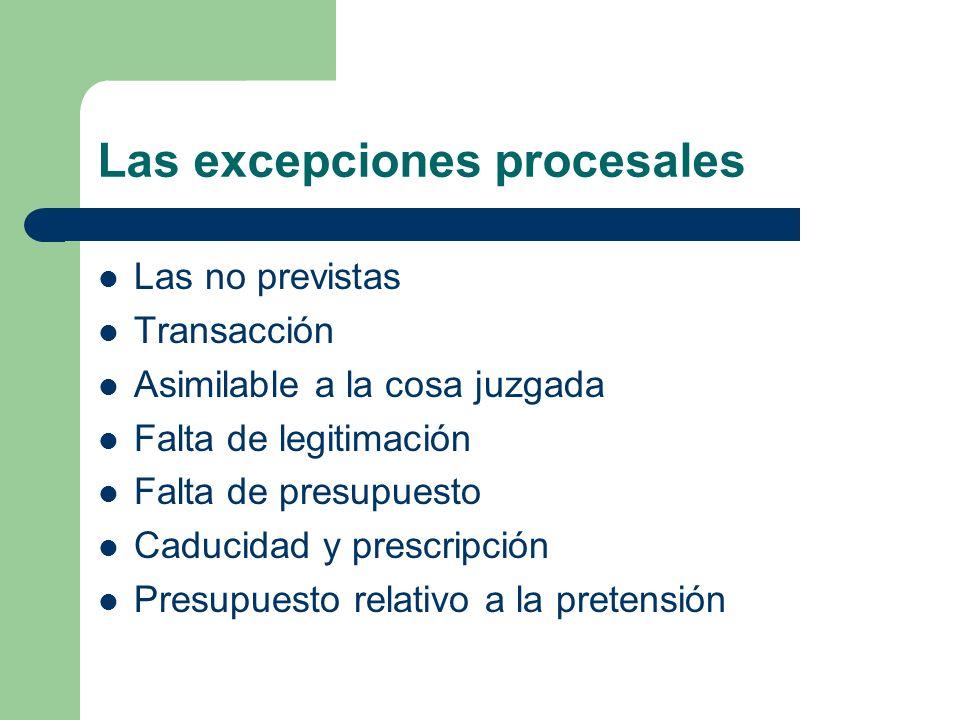 Las excepciones procesales Las no previstas Transacción Asimilable a la cosa juzgada Falta de legitimación Falta de presupuesto Caducidad y prescripci