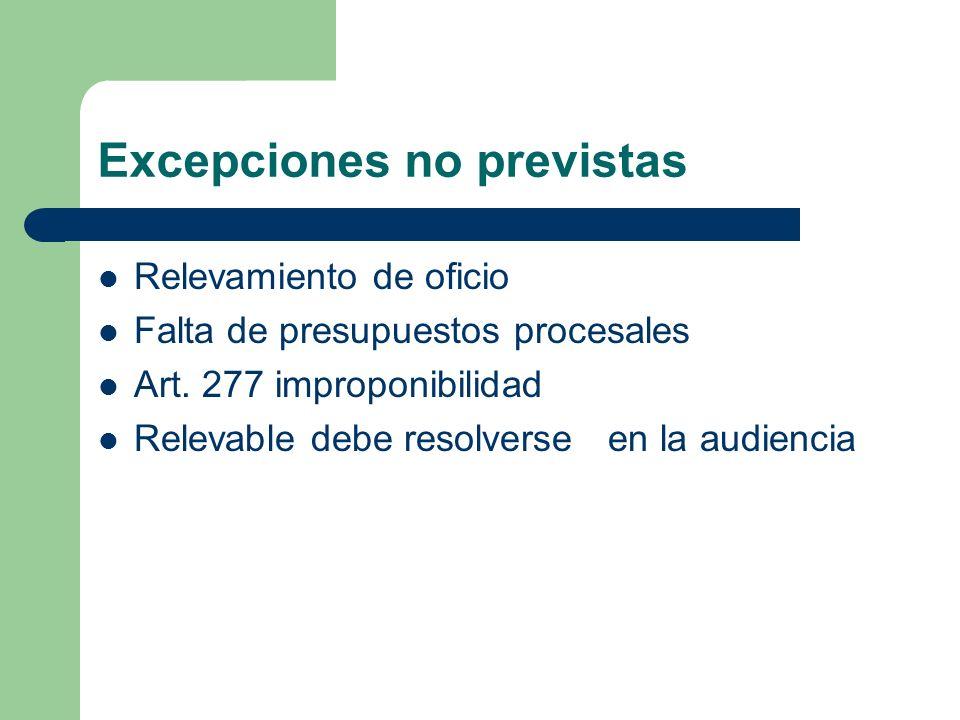 Excepciones no previstas Relevamiento de oficio Falta de presupuestos procesales Art. 277 improponibilidad Relevable debe resolverse en la audiencia