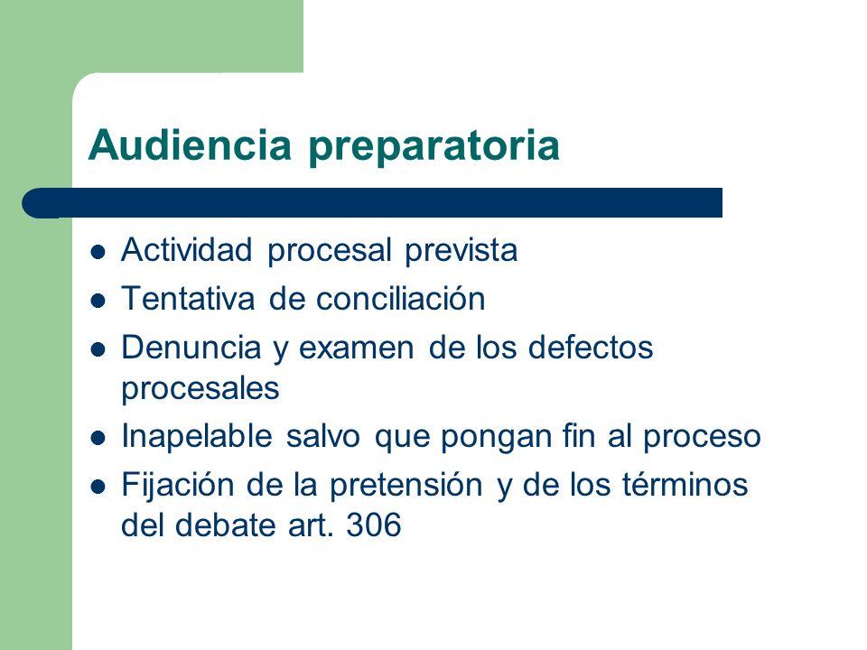 Audiencia preparatoria Actividad procesal prevista Tentativa de conciliación Denuncia y examen de los defectos procesales Inapelable salvo que pongan