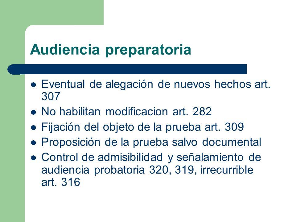 Audiencia preparatoria Eventual de alegación de nuevos hechos art. 307 No habilitan modificacion art. 282 Fijación del objeto de la prueba art. 309 Pr