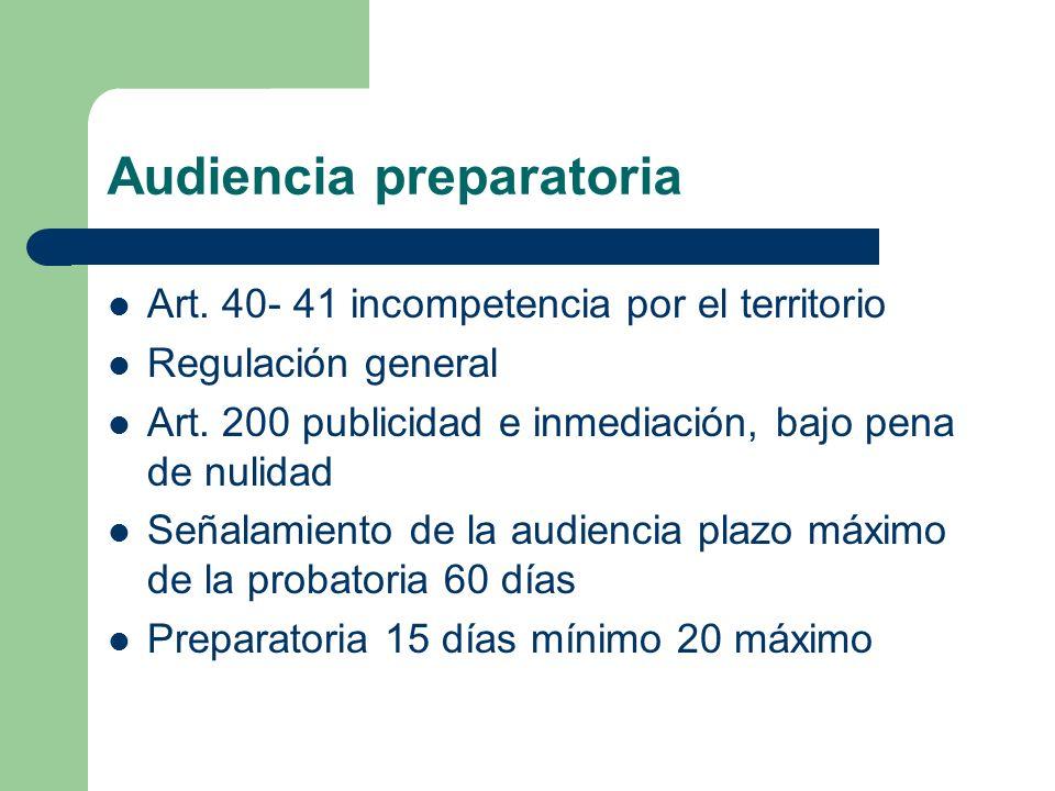 Audiencia preparatoria Art. 40- 41 incompetencia por el territorio Regulación general Art. 200 publicidad e inmediación, bajo pena de nulidad Señalami