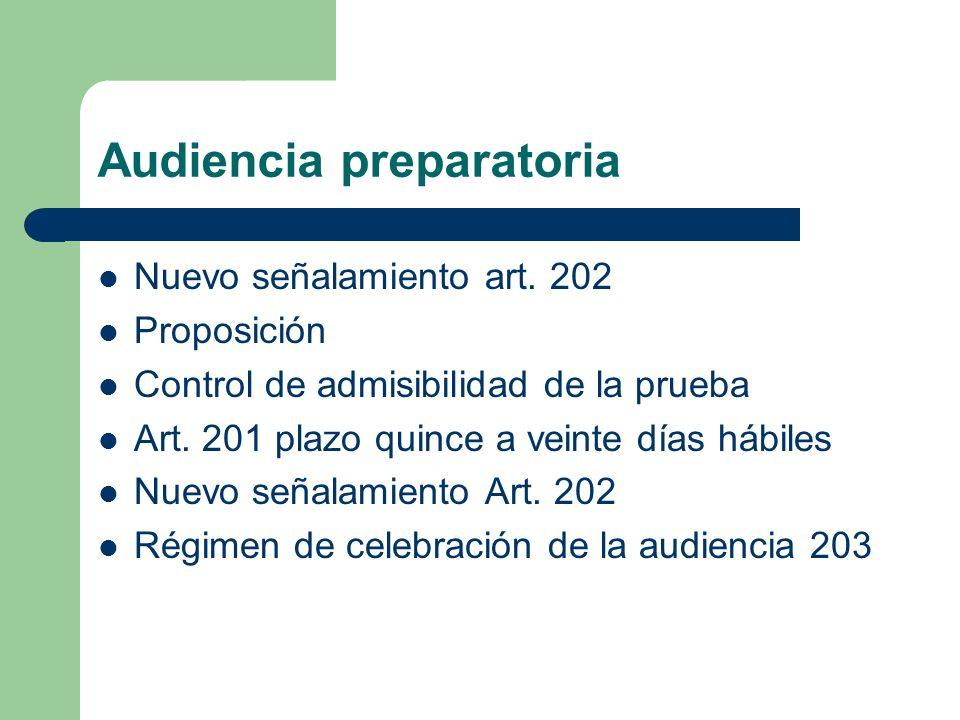 Audiencia preparatoria Nuevo señalamiento art. 202 Proposición Control de admisibilidad de la prueba Art. 201 plazo quince a veinte días hábiles Nuevo