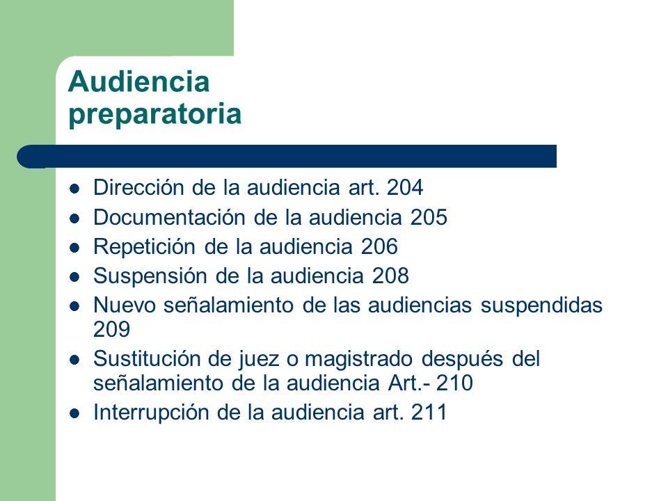 Audiencia preparatoria Dirección de la audiencia art. 204 Documentación de la audiencia 205 Repetición de la audiencia 206 Suspensión de la audiencia