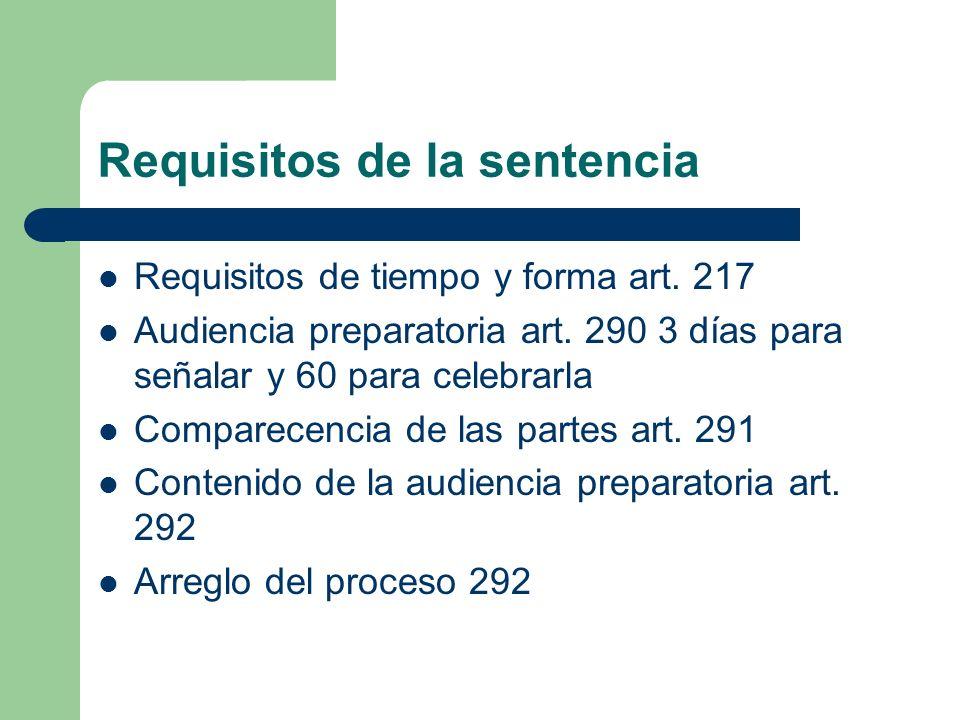 Requisitos de la sentencia Requisitos de tiempo y forma art. 217 Audiencia preparatoria art. 290 3 días para señalar y 60 para celebrarla Comparecenci