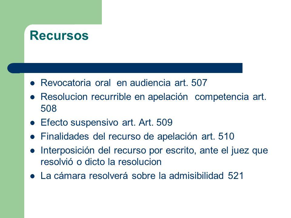 Recursos Revocatoria oral en audiencia art. 507 Resolucion recurrible en apelación competencia art. 508 Efecto suspensivo art. Art. 509 Finalidades de