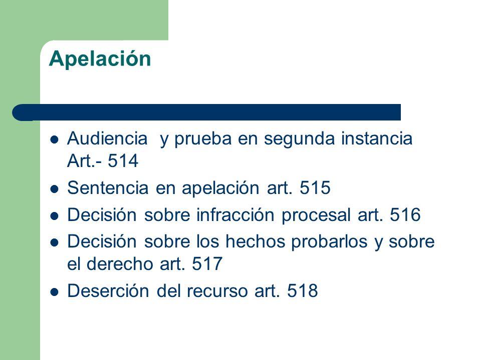 Apelación Audiencia y prueba en segunda instancia Art.- 514 Sentencia en apelación art. 515 Decisión sobre infracción procesal art. 516 Decisión sobre