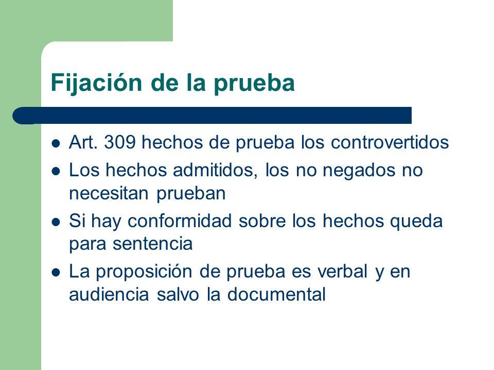 Fijación de la prueba Art. 309 hechos de prueba los controvertidos Los hechos admitidos, los no negados no necesitan prueban Si hay conformidad sobre
