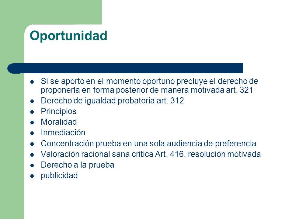 Oportunidad Si se aporto en el momento oportuno precluye el derecho de proponerla en forma posterior de manera motivada art. 321 Derecho de igualdad p