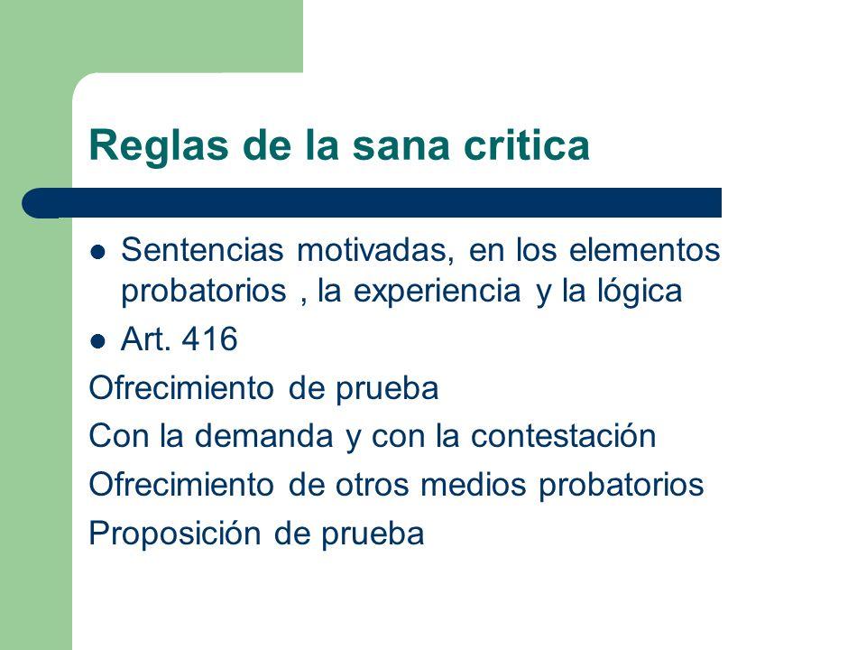 Reglas de la sana critica Sentencias motivadas, en los elementos probatorios, la experiencia y la lógica Art. 416 Ofrecimiento de prueba Con la demand
