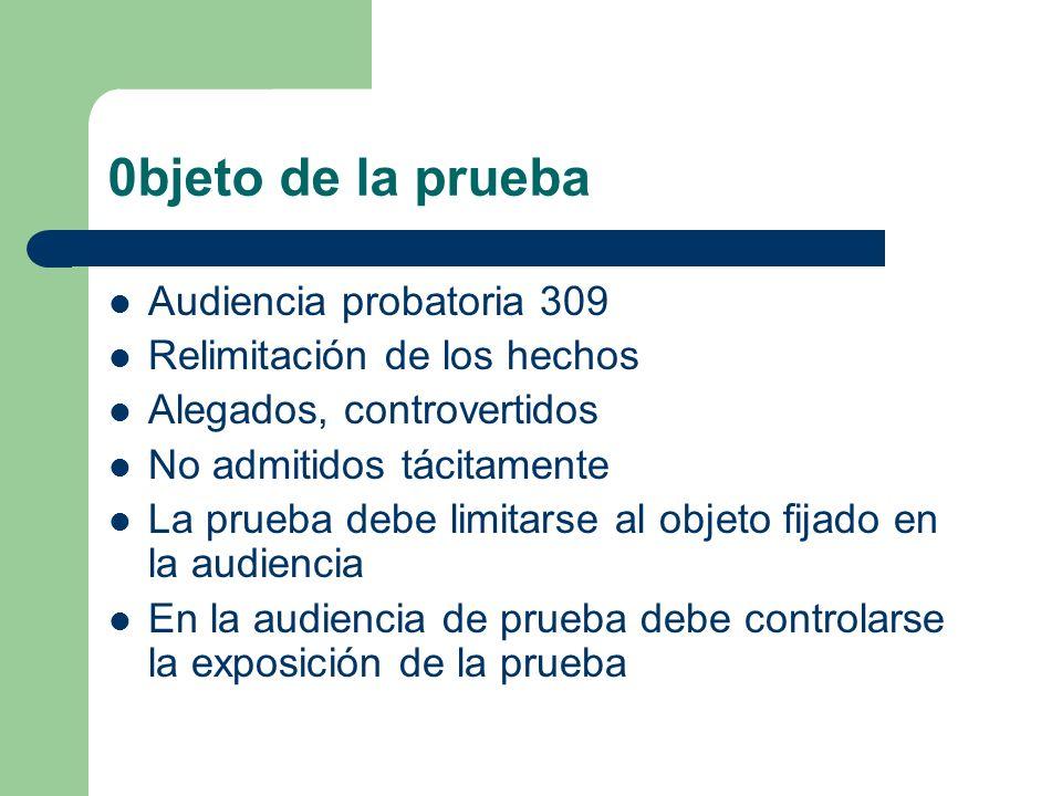 0bjeto de la prueba Audiencia probatoria 309 Relimitación de los hechos Alegados, controvertidos No admitidos tácitamente La prueba debe limitarse al