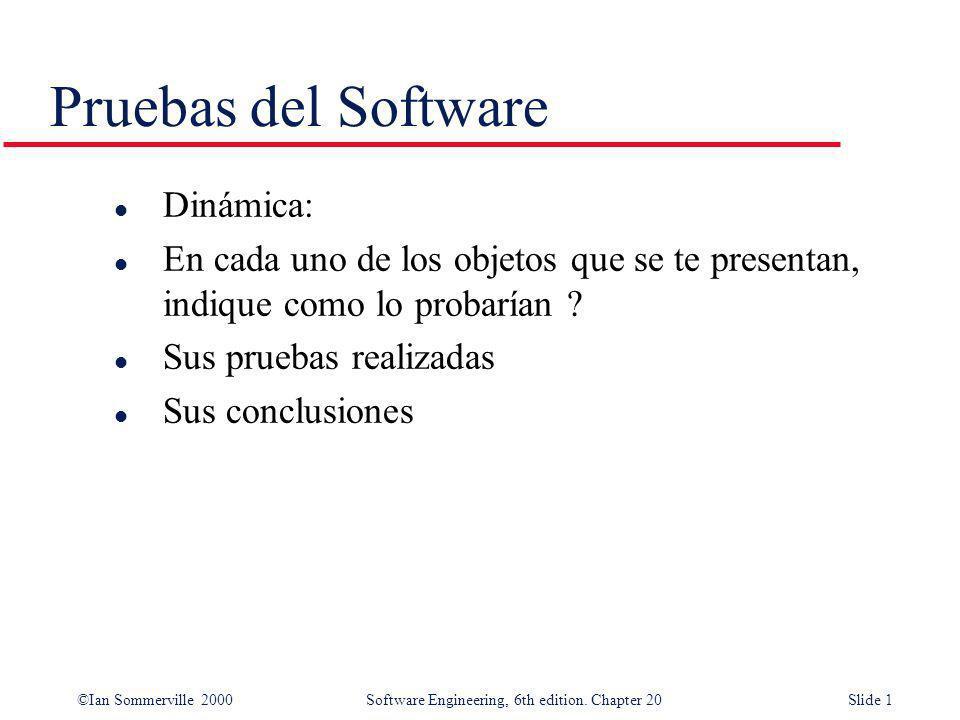 ©Ian Sommerville 2000 Software Engineering, 6th edition. Chapter 20Slide 1 Pruebas del Software l Dinámica: l En cada uno de los objetos que se te pre