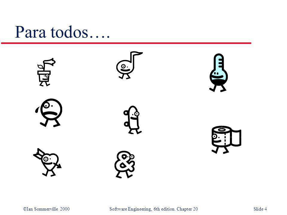 ©Ian Sommerville 2000 Software Engineering, 6th edition. Chapter 20Slide 45 Bancos de prueba