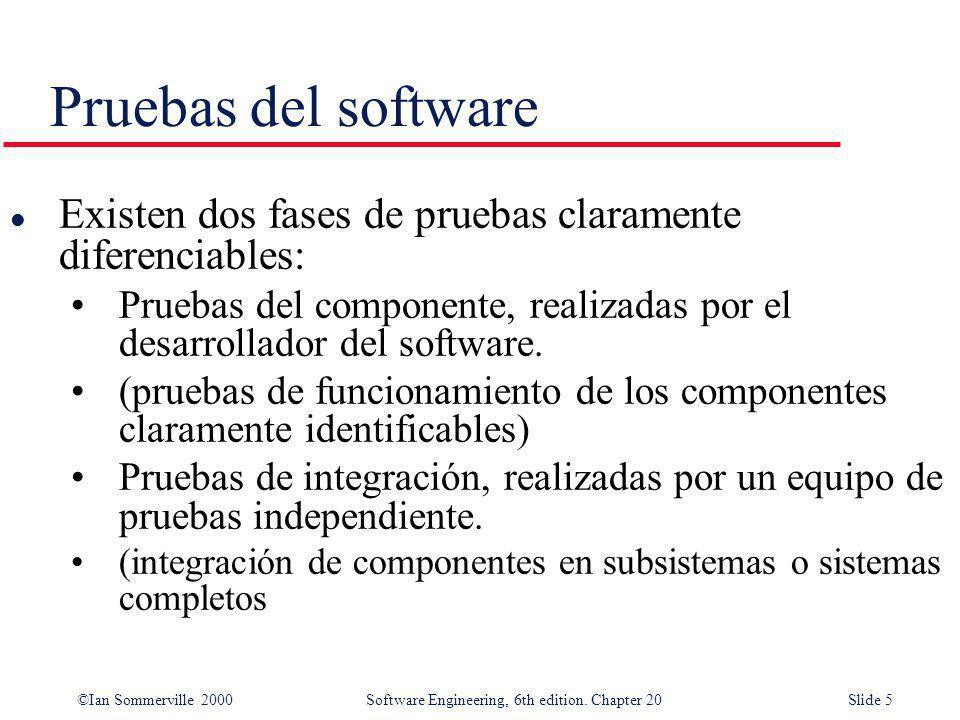 ©Ian Sommerville 2000 Software Engineering, 6th edition. Chapter 20Slide 5 Pruebas del software l Existen dos fases de pruebas claramente diferenciabl