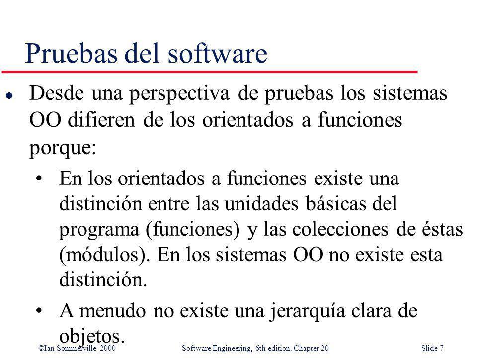 ©Ian Sommerville 2000 Software Engineering, 6th edition. Chapter 20Slide 7 Pruebas del software l Desde una perspectiva de pruebas los sistemas OO dif