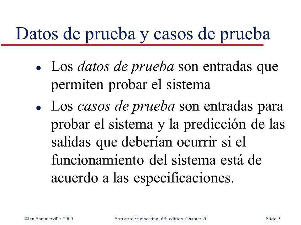 ©Ian Sommerville 2000 Software Engineering, 6th edition. Chapter 20Slide 9 l Los datos de prueba son entradas que permiten probar el sistema l Los cas
