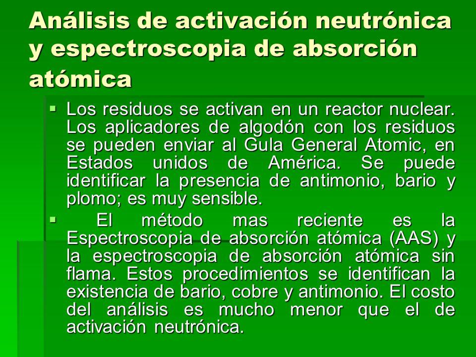 Análisis de activación neutrónica y espectroscopia de absorción atómica Los residuos se activan en un reactor nuclear. Los aplicadores de algodón con