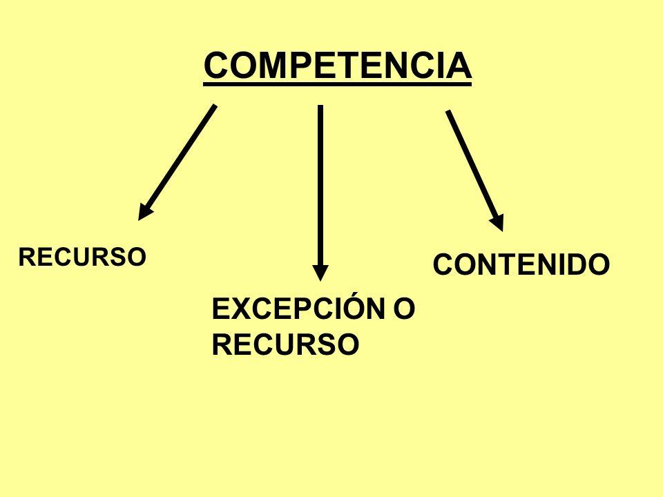 COMPETENCIA RECURSO EXCEPCIÓN O RECURSO CONTENIDO