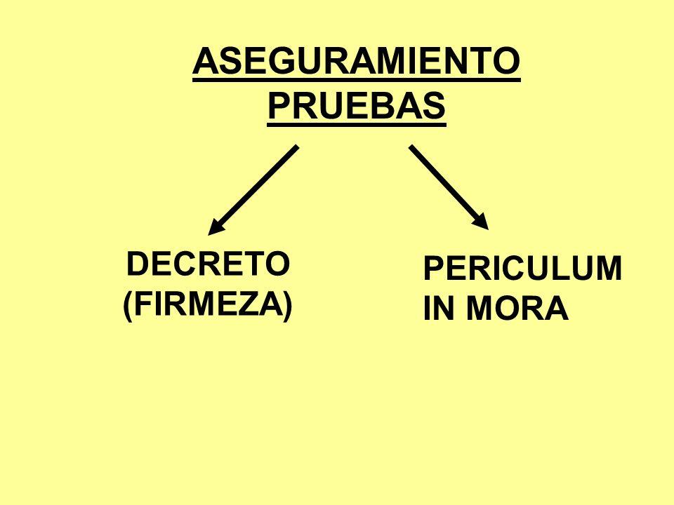 ASEGURAMIENTO PRUEBAS DECRETO (FIRMEZA) PERICULUM IN MORA