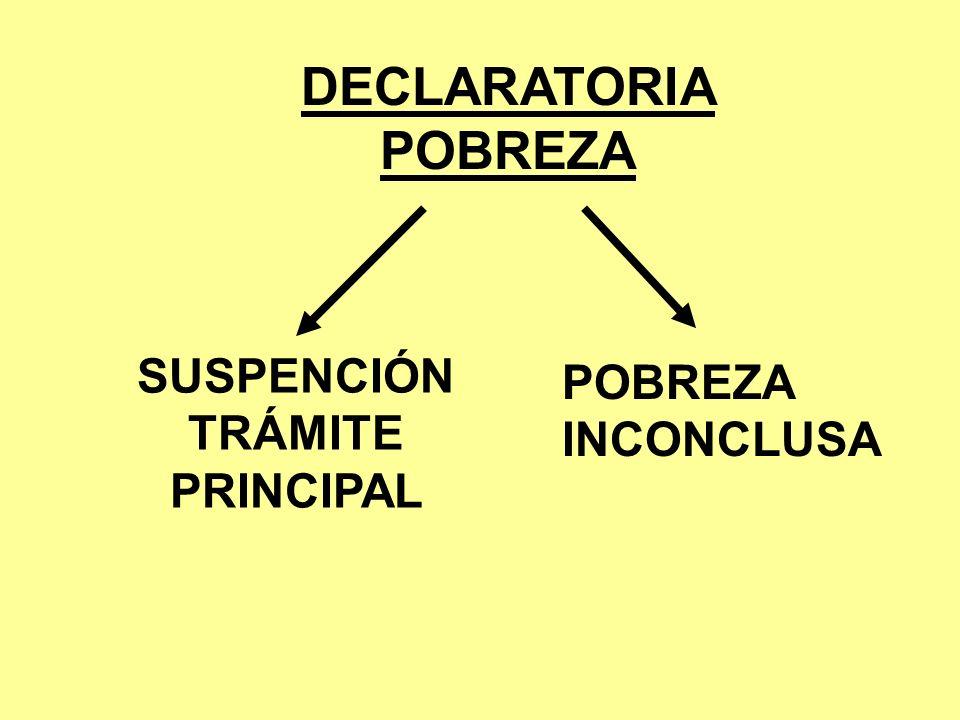 DECLARATORIA POBREZA SUSPENCIÓN TRÁMITE PRINCIPAL POBREZA INCONCLUSA