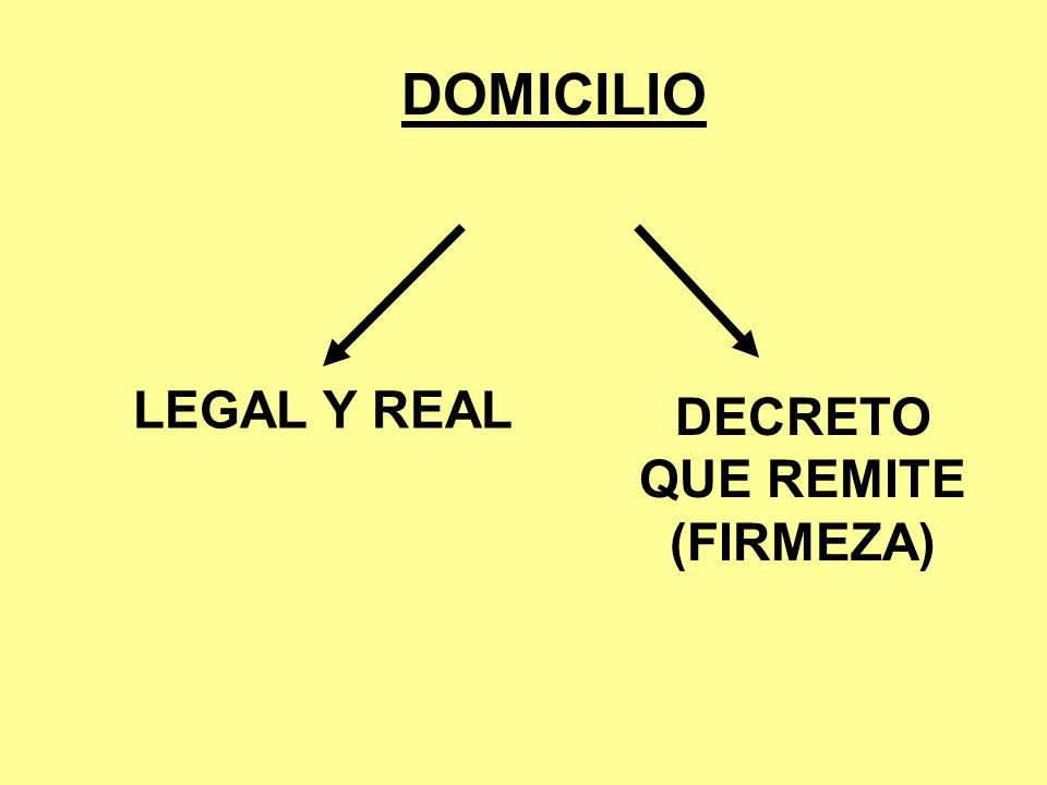 DOMICILIO LEGAL Y REAL DECRETO QUE REMITE (FIRMEZA)