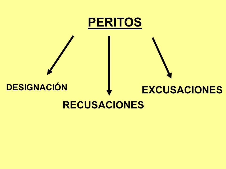 PERITOS DESIGNACIÓN RECUSACIONES EXCUSACIONES