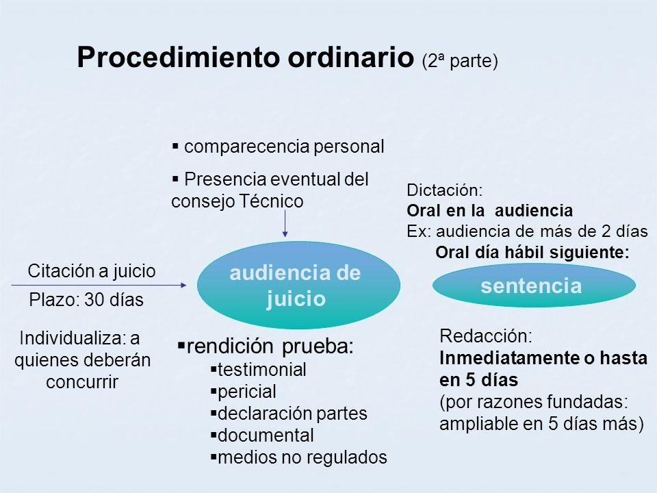 Procedimiento ordinario (2ª parte) audiencia de juicio sentencia comparecencia personal Presencia eventual del consejo Técnico Citación a juicio Plazo