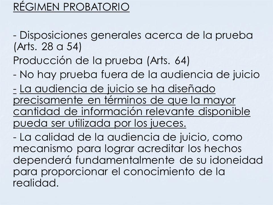 RÉGIMEN PROBATORIO - Disposiciones generales acerca de la prueba (Arts. 28 a 54) Producción de la prueba (Arts. 64) - No hay prueba fuera de la audien
