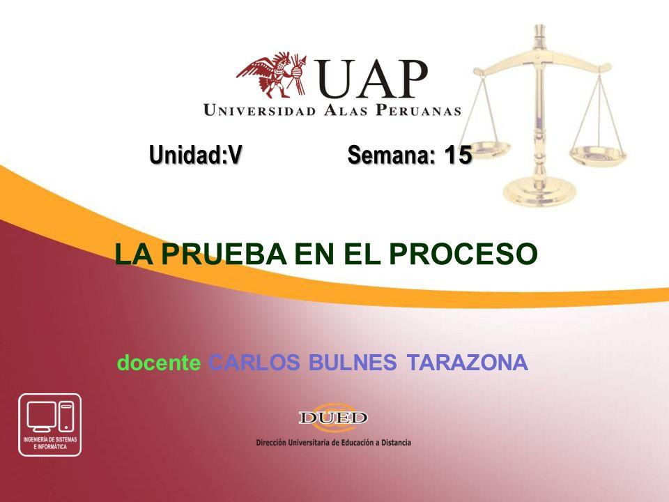 docente CARLOS BULNES TARAZONA Unidad:V Semana: 15 LA PRUEBA EN EL PROCESO