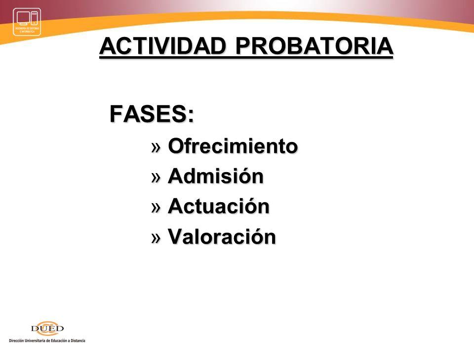 ACTIVIDAD PROBATORIA FASES: FASES: » Ofrecimiento » Admisión » Actuación » Valoración