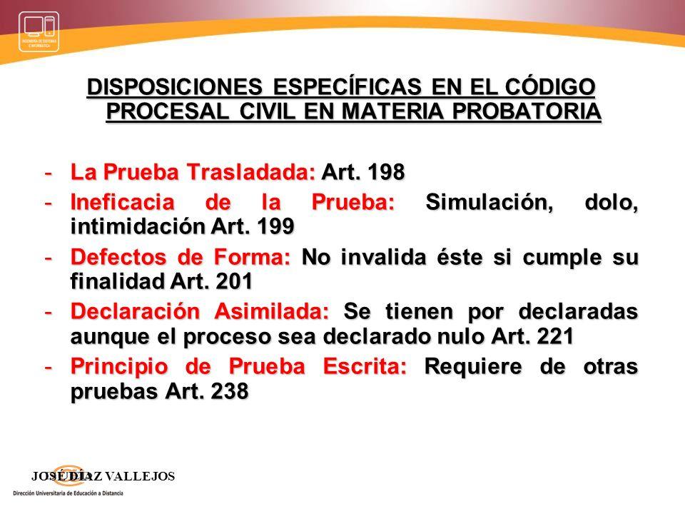 DISPOSICIONES ESPECÍFICAS EN EL CÓDIGO PROCESAL CIVIL EN MATERIA PROBATORIA -La Prueba Trasladada: Art. 198 -Ineficacia de la Prueba: Simulación, dolo