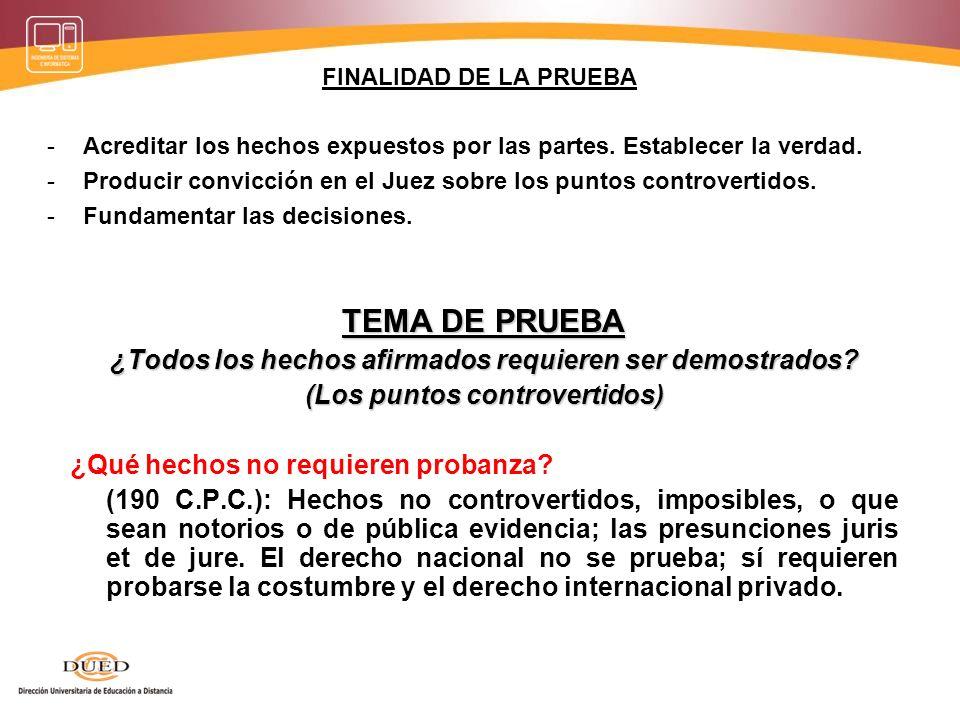 TEMA DE PRUEBA -Hechos afirmados por una de las partes y admitidos por la otra.