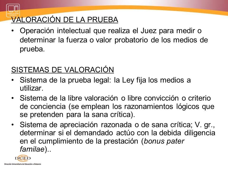 VALORACIÓN DE LA PRUEBA Operación intelectual que realiza el Juez para medir o determinar la fuerza o valor probatorio de los medios de prueba. SISTEM