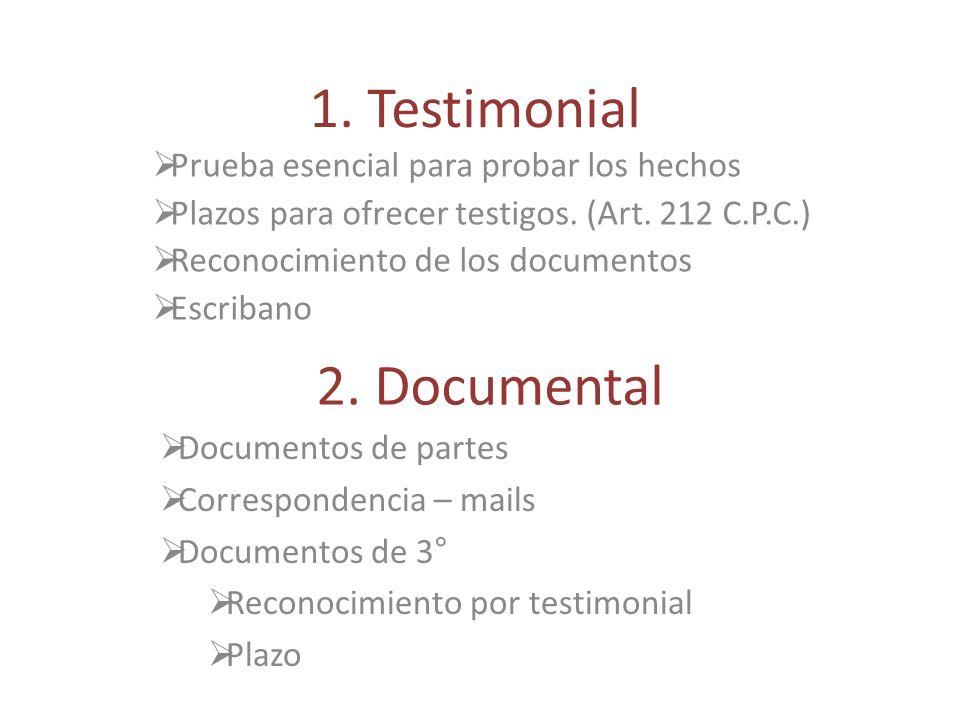 1.Testimonial Prueba esencial para probar los hechos Plazos para ofrecer testigos.