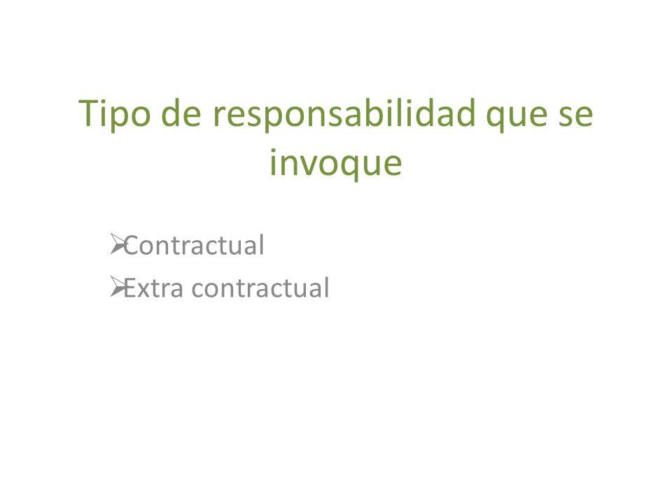 Tipo de responsabilidad que se invoque Contractual Extra contractual