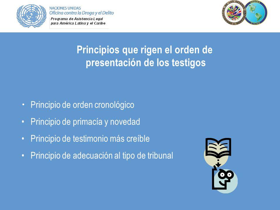 Principio de orden cronológico Principio de primacía y novedad Principio de testimonio más creíble Principio de adecuación al tipo de tribunal Princip
