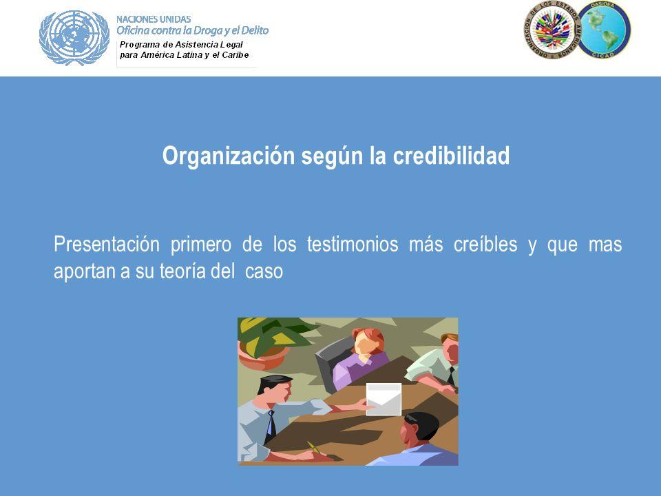 Organización según la credibilidad Presentación primero de los testimonios más creíbles y que mas aportan a su teoría del caso