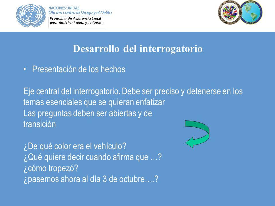 Desarrollo del interrogatorio Presentación de los hechos Eje central del interrogatorio. Debe ser preciso y detenerse en los temas esenciales que se q