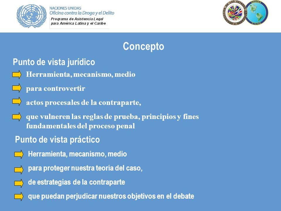 Concepto Herramienta, mecanismo, medio para controvertir actos procesales de la contraparte, que vulneren las reglas de prueba, principios y fines fun