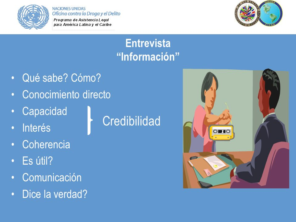 Entrevista Información Qué sabe? Cómo? Conocimiento directo Capacidad Interés Coherencia Es útil? Comunicación Dice la verdad? Credibilidad