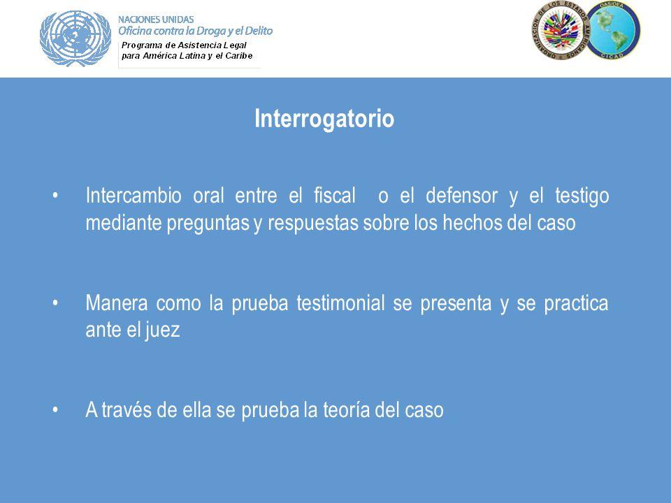 Interrogatorio Intercambio oral entre el fiscal o el defensor y el testigo mediante preguntas y respuestas sobre los hechos del caso Manera como la pr